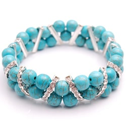 Turquoise-colored Rhinestones and Crystal Stretch Bracelet