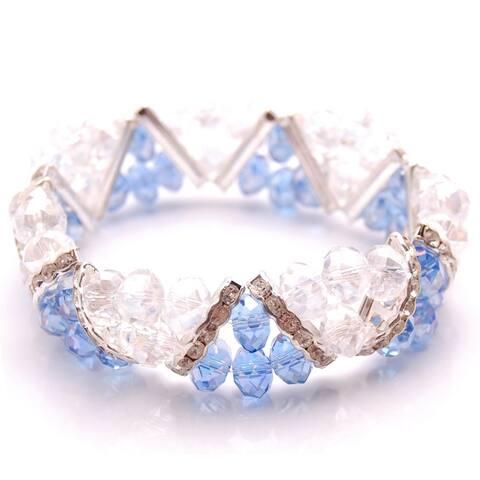 Handmade Blue Crystal and Rhinestone Stretch Bracelet