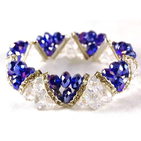 Handmade Cobalt Blue Crystal and Rhinestone Stretch Bracelet