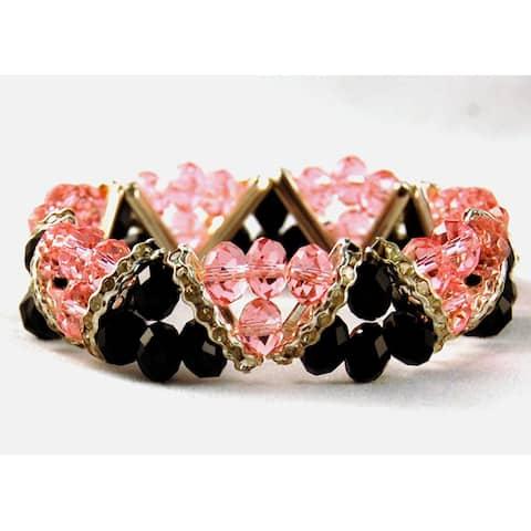 Jet Black and Light Pink Crystal and Rhinestone Stretch Bracelet