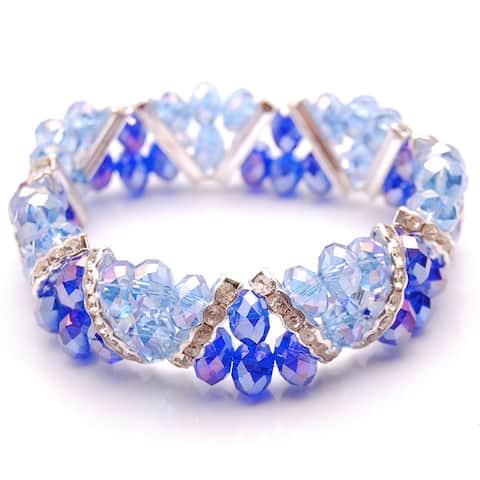 Sapphire Blue and Cobalt Blue Crystal and Rhinestone Stretch Bracelet