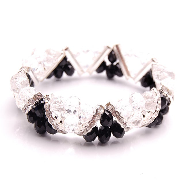 Jet Black and Clear Crystal and Rhinestone Stretch Bracelet
