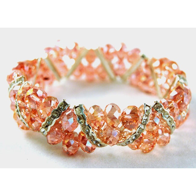 Light Pink Crystal and Rhinestone Stretch Bracelet - Thumbnail 0