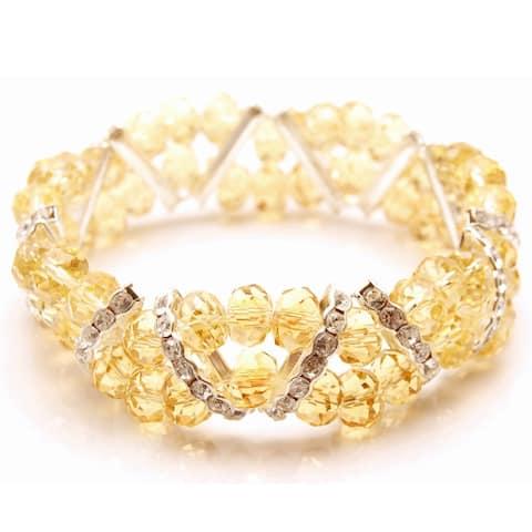 Handmade Topaz Crystal and Rhinestone Stretch Bracelet