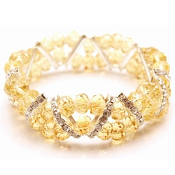 Topaz Crystal and Rhinestone Stretch Bracelet