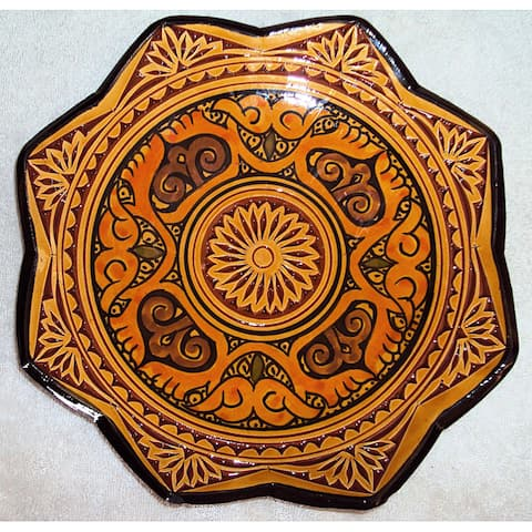 Handmade Ceramic 'Isabella' Engraved Plate (Morocco)