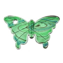 Glass Green and Blue Swirling Butterfly Pendant - Thumbnail 1