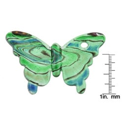 Glass Green and Blue Swirling Butterfly Pendant - Thumbnail 2