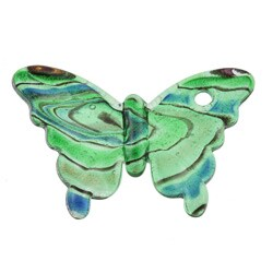 Murano Inspired Glass Green and Blue Swirling Butterfly Pendant
