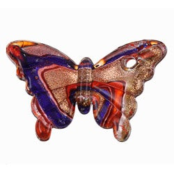 Murano Inspired Glass Red/ Blue/ Gold/ Silver Butterfly Pendant