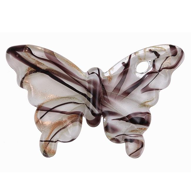 Murano Inspired Glass White/ Black/ Gold Butterfly Pendant