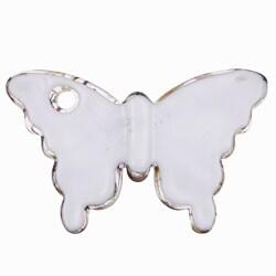 Murano Inspired Glass White/ Black/ Gold Butterfly Pendant - Thumbnail 1