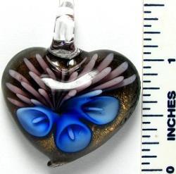 Murano Inspired Glass Gold/ Blue/ Pink Heart Pendant
