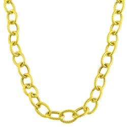 Fremada 14k Gold over Silver 18-inch Textured Link Necklace (7 mm)
