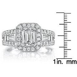 14k White Gold 1 1/10ct TDW Emerald Diamond Ring (H-I, SI1-SI2) - Thumbnail 2