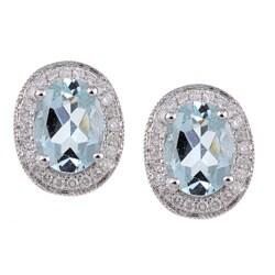14k White Gold Aquamarine and 1/4ct TDW Diamond Earrings (H-I, I2-I3)