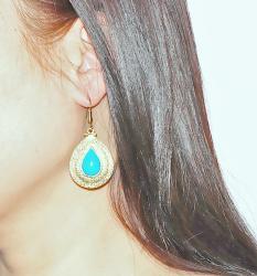 Adee Waiss 18k Gold Overlay Magnesite Turquiose Teardrop Earrings - Thumbnail 2