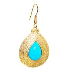 Adee Waiss 18k Gold Overlay Magnesite Turquiose Teardrop Earrings - Thumbnail 1