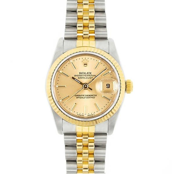 2f93e6e84 Shop Pre-Owned Rolex Men's Midsize Datejust Champagne Dial Two-tone Watch - Free  Shipping Today - Overstock - 5195802