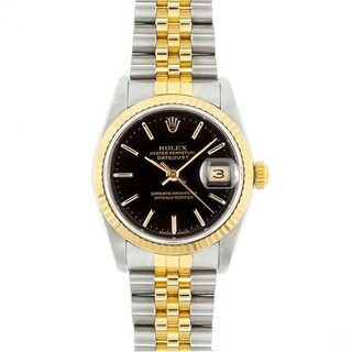 Pre-owned Rolex Men's Midsize Datejust Black Dial Two-tone Watch