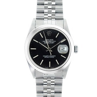 Pre-Owned Rolex Men's Datejust Black Dial Stainless Steel Watch