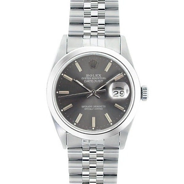 Pre-Owned Rolex Men's Datejust Grey Dial Stainless Steel Watch