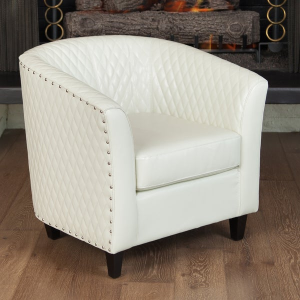 shop mia ivory bonded leather quilted club chair by christopher knight home free shipping. Black Bedroom Furniture Sets. Home Design Ideas
