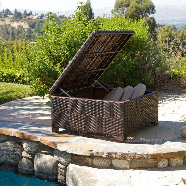 Wicker Brown Indoor Outdoor Storage Ottoman By Christopher Knight Home Free Shipping Today 13028574