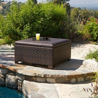 Wicker Brown Indoor/ Outdoor Storage Ottoman by Christopher Knight Home