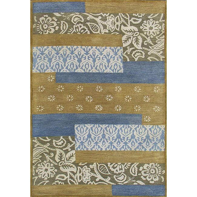Hand-tufted Metro Mixed Blue Wool Rug (4' x 6') - 4' x 6'