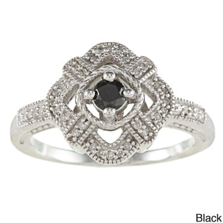 Silver 1/4ct TDW Diamond Vintage Cocktail Ring with Gift Box (H-I, I1-I2)