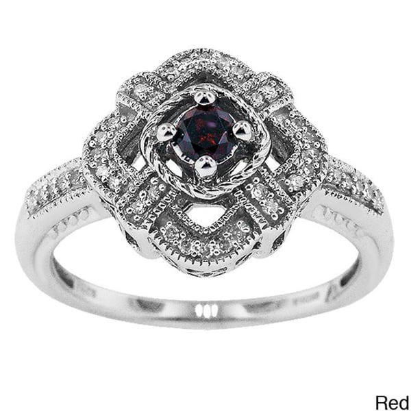 Silver 1/4ct TDW Diamond Vintage Cocktail Ring with Gift Box