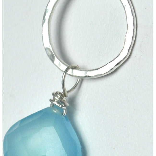 Sterling and Fine Silver Light Blue Chalcedony Necklace