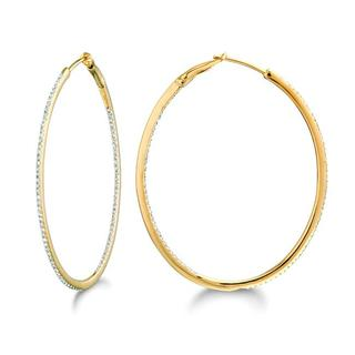 14k Yellow Gold 1/2ct TDW Diamond Hoop Earrings