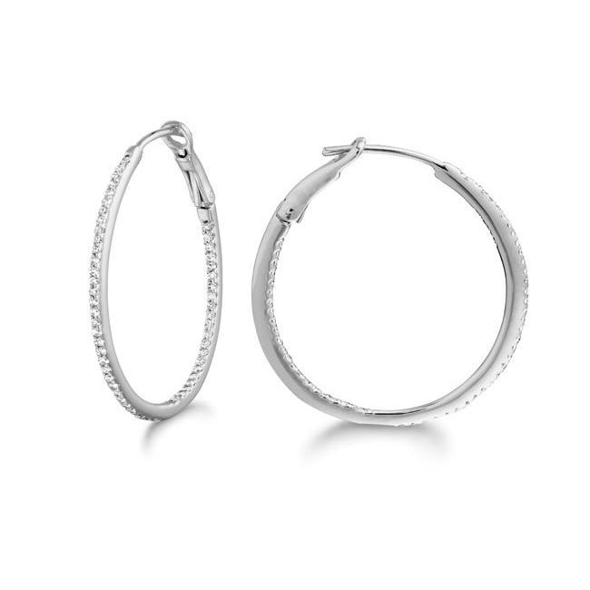 14k White Gold 1/3ct TDW Diamond Hoop Earrings (G-H, SI2)