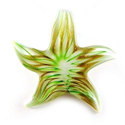 Murano Inspired Glass White/ Gold/ Green Star Pendant