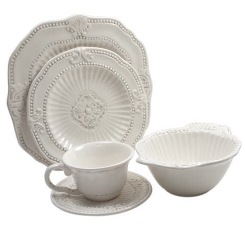 American Atelier 20-piece Antique White Baroque Dinnerware Set (Service for 4)