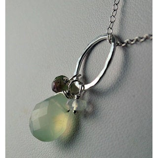 Sterling Silver Chalcedony, Tourmaline, Moonstone Necklace