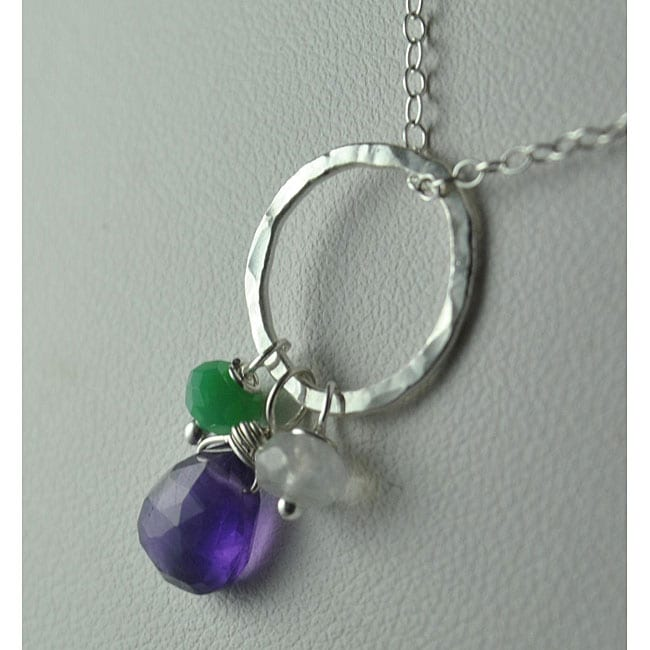 Sterling and Fine Silver with Amethyst, Chrysoprase and Moonstone Necklace