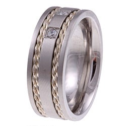 Stainless Steel and Silver 1/10ct TDW Men's Diamond 3-stone Band (H-I, I2-I3) - Thumbnail 1