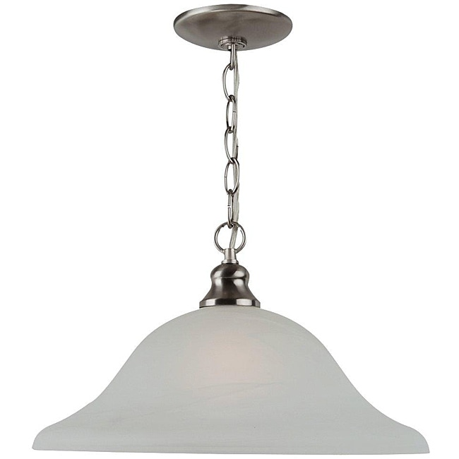 Windgate 1-Light Nickel Pendant with Alabaster Glass Shade