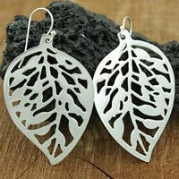 Handmade Sterling Silver Cut-out Leaf Dangle Earrings (Mexico)
