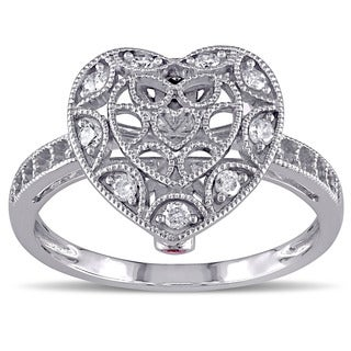 Miadora 10k Gold 1/5ct TDW Diamond and Pink Sapphire Heart Ring
