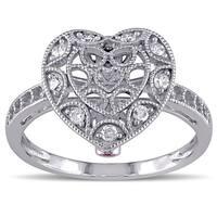 Miadora 10k Gold 1/5ct TDW Diamond and Pink Sapphire Heart Ring