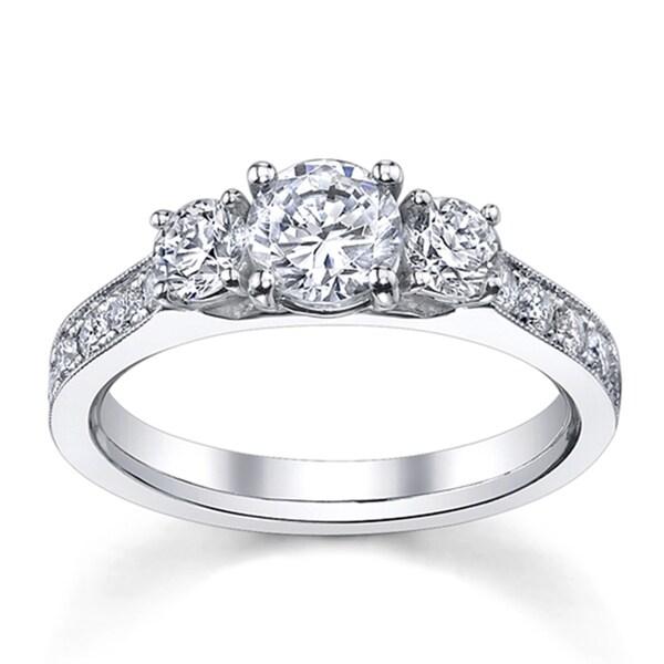 14k White Gold 1 1/2ct TDW Round-cut Diamond Engagement Ring (H-I, SI1-SI2)
