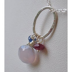 Sterling and Fine Silver with Chalcedony, Tourmaline and Sapphire Necklace