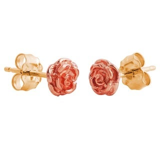14k Black Hills Gold Rose Earrings