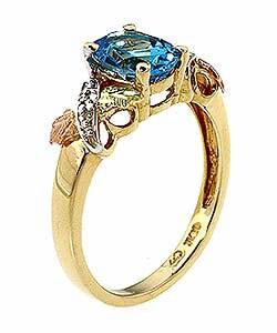 Black Hills Gold Blue Topaz and Diamond Ring