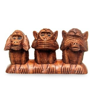 Three Wise Monkeys Hear Speak See No Evil Artisan Decorator Accent Brown Wood Traditonal Signed Art Work Sculpture (Indonesia)