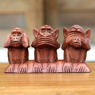 Three Wise Monkeys Hear Speak See No Evil Artisan Decorator Accent Brown Wood Traditonal Signed Art Work Sculpture (Indonesia)